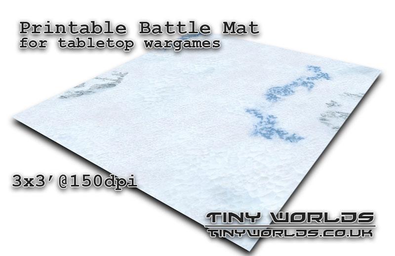 Printable tabletop gaming battle mat - Winter Snow 031c 3x3'