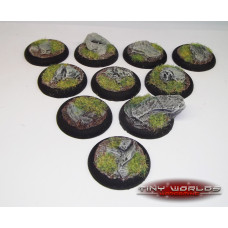 30mm Round Lipped Rock / Slate Scenic Bases