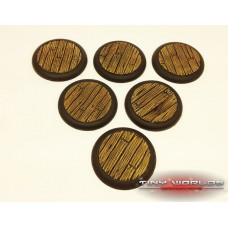 40mm Round Lipped Wooden Plank Resin Bases