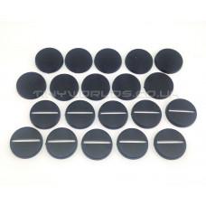 25mm Round Black Plastic Slotta Bases