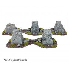 Dragons Teeth Tank Traps + Bases Set - Ruined
