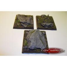 50mm Square Rocky Slate Monster Resin Bases x 3