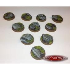 25mm Round Rock / Slate Scenic Resin Bases