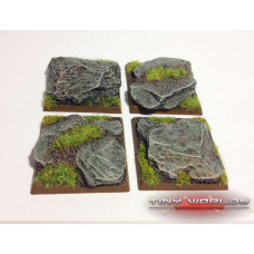 40mm Square Rocky Slate Monster Resin Bases x 4