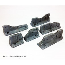 Concrete Jersey Barriers - Set of 6 - Ruined