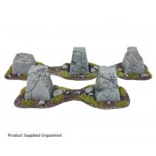 Dragons Teeth Tank Traps + Bases Set - Ruined